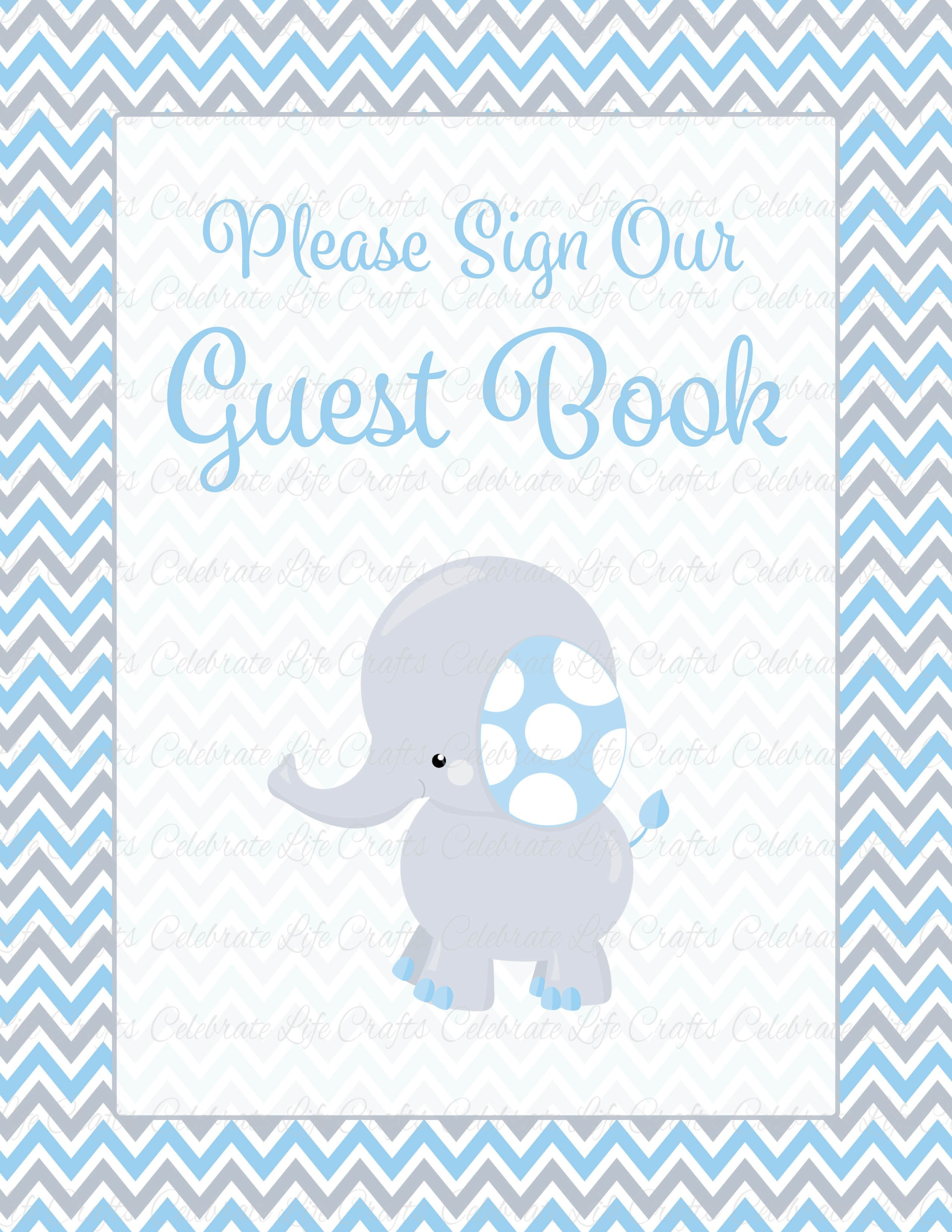 A4 Boy Girl Baby Shower Guest Book Metal Table Sign Decoration ELEPHANT
