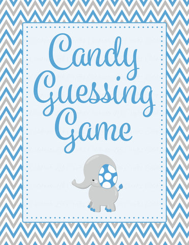 Candy Guessing Game - Printable Download - Blue & Gray Baby Shower Game - B3004