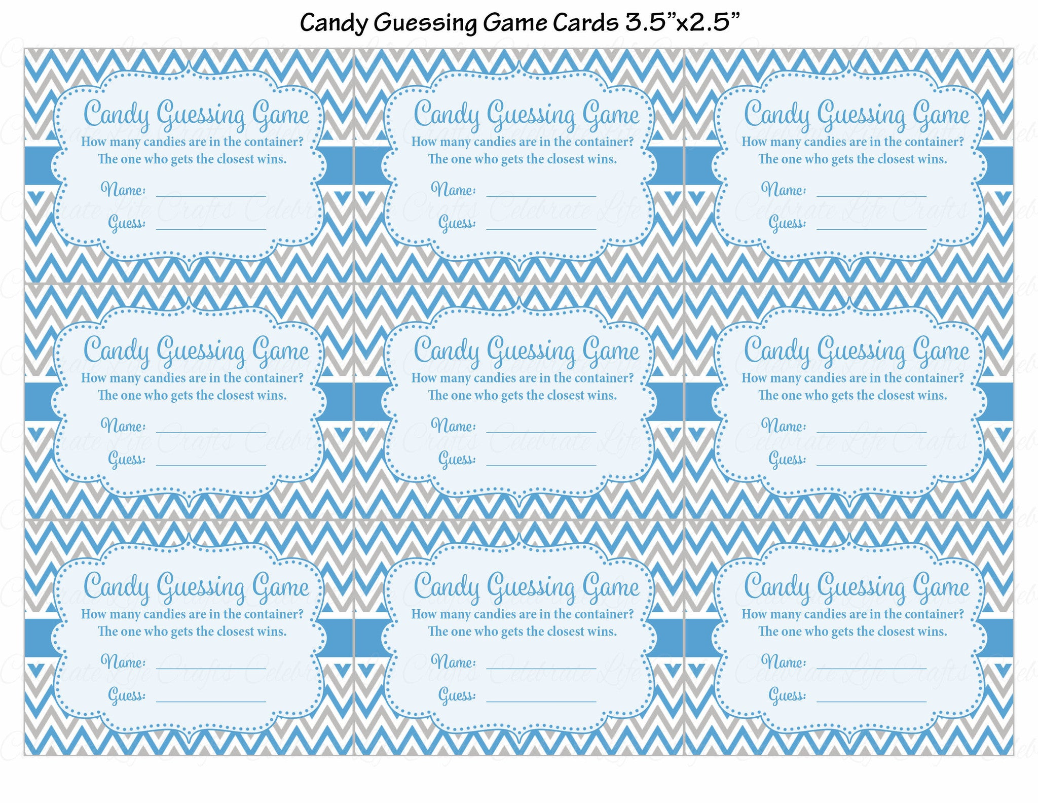 ... Candy Guessing Game   Printable Download   Blue U0026 Gray Baby Shower Game    B3004