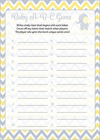 Elephant Baby Shower Baby ABC Game