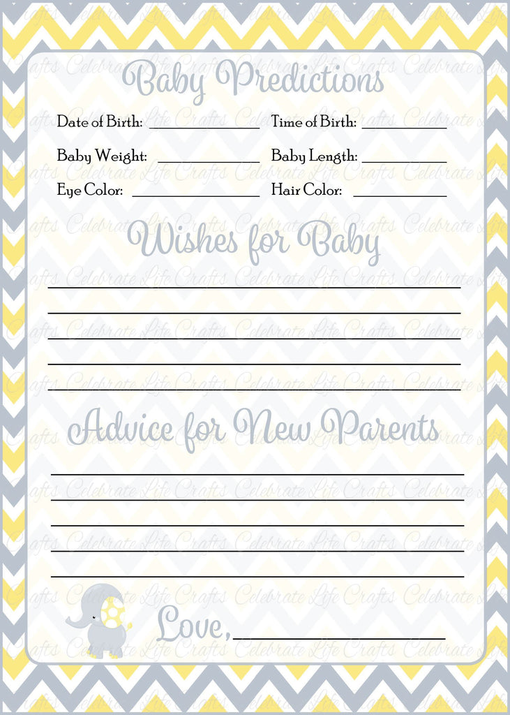 Elephant Baby Shower Prediction and Advice Cards