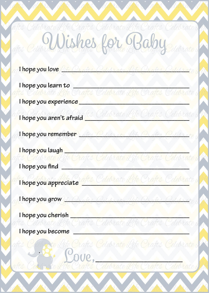 Elephant Baby Shower Wishes for Baby