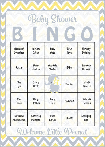 graphic regarding Baby Shower Bingo Cards Printable titled Elephant Child Shower - Kid Bingo Playing cards - Printable Obtain - Boy or girl Shower Activity for Boy - Yellow Grey B3005