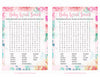 Baby Word Search - Printable Download - Pink Floral Spring Baby Shower Game - B33001