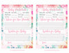 Prediction & Advice Cards - Printable Download - Pink Floral Spring Baby Shower Activity - B33001