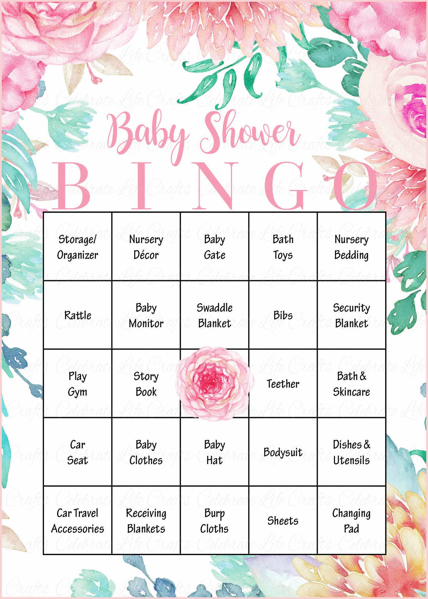 Floral Baby Bingo Cards   Printable Download   Prefilled   Spring Baby  Shower Game For Girl   Pink Floral   B33001.