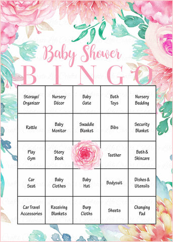 graphic relating to Spring Bingo Game Printable identified as Floral Little one Bingo Playing cards - Printable Obtain - Prefilled - Spring Boy or girl Shower Video game for Woman - Crimson Floral - B33001