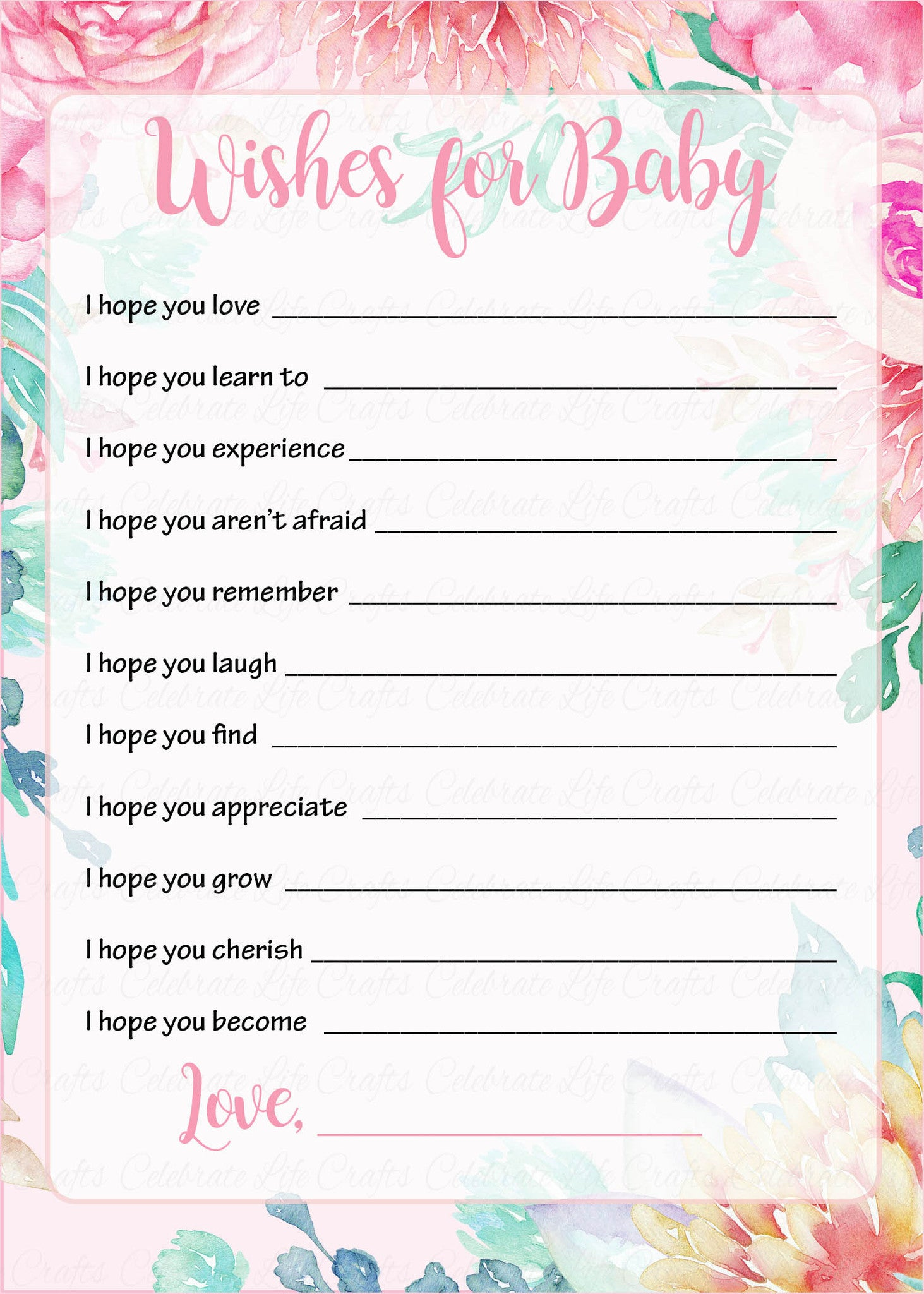 Great Wishes For Baby Cards   Printable Download   Pink Floral Spring Baby Shower  Activity   B33001.