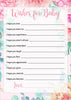 Wishes for Baby Cards - Printable Download - Pink Floral Spring Baby Shower Activity - B33001