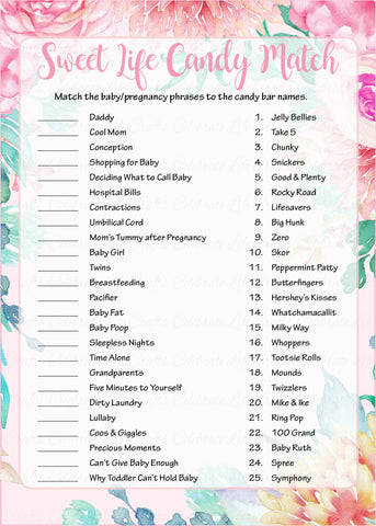 Sweet Life Candy Match Game - Printable Download - Pink Floral Spring Baby Shower Game - B33001