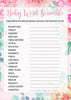 Baby Word Scramble - Printable Download - Pink Floral Spring Baby Shower Game - B33001