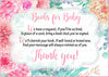 Books for Baby Cards - Printable Download - Pink Floral Spring Baby Shower Invitation Inserts - B33001