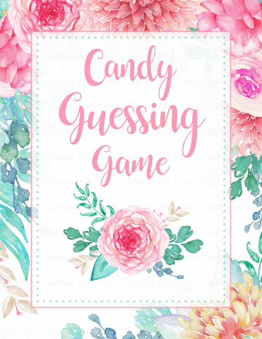 Candy Guessing Game - Printable Download - Pink Floral Spring Baby Shower Game - B33001
