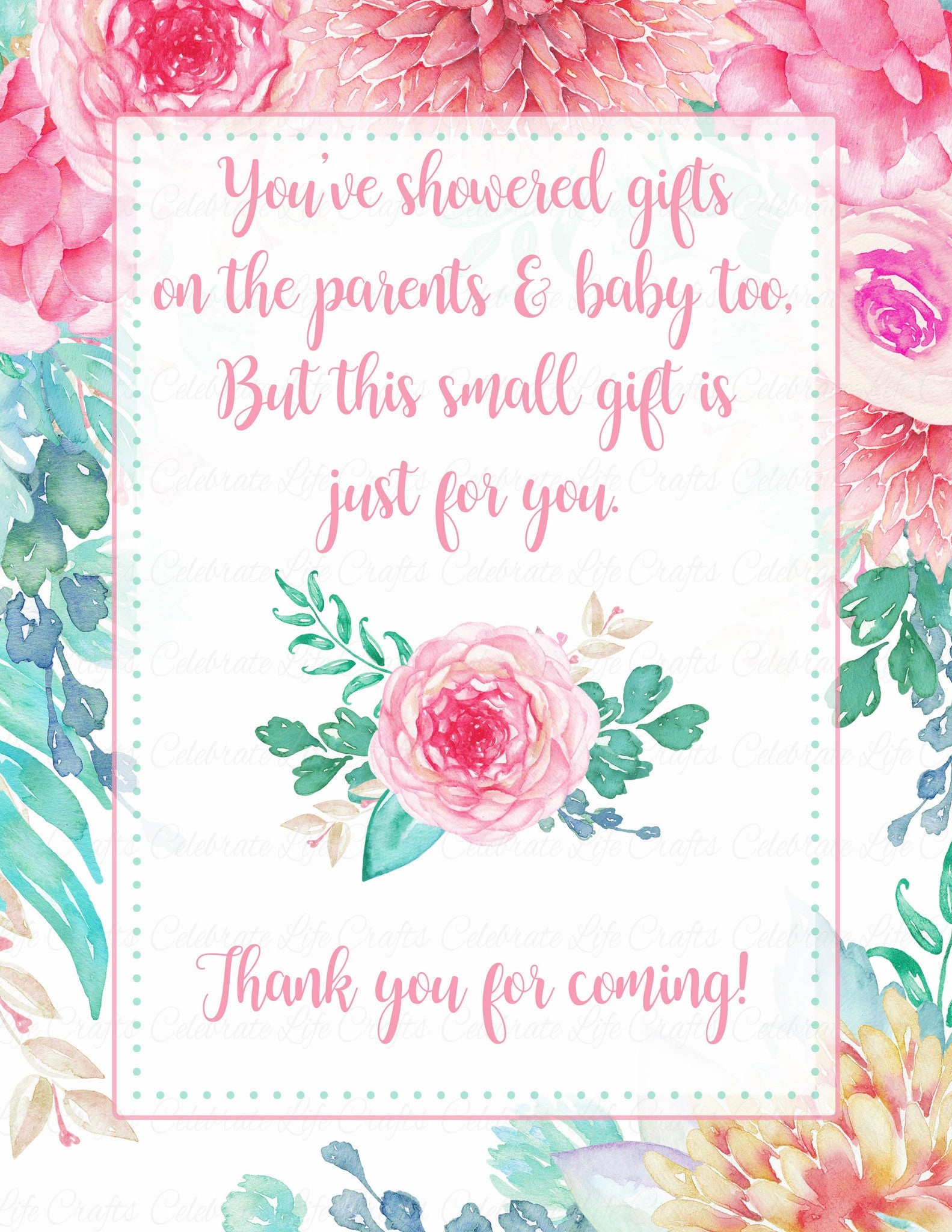 Thank You Favor Sign For Baby Shower Spring Baby Shower Theme