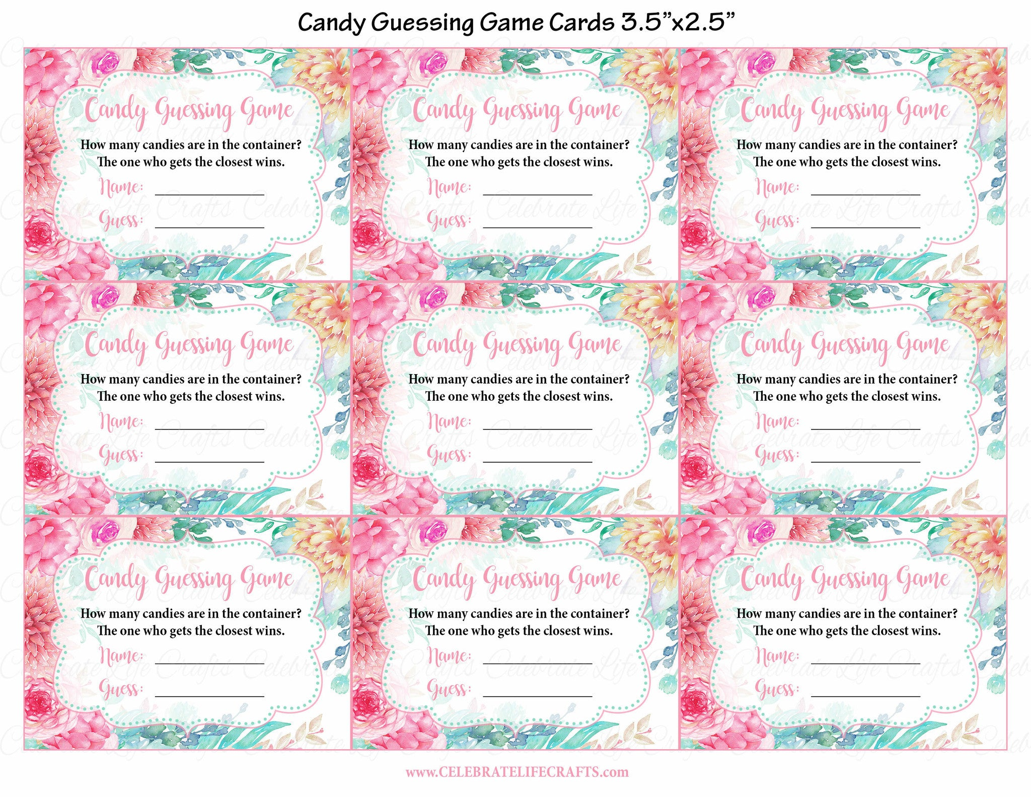 Candy Guess Baby Shower Game - Spring Baby Shower Theme for Baby ...