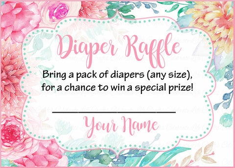 Diaper Raffle Tickets - Printable Download - Pink Floral Spring Baby Shower Invitation Inserts - B33001