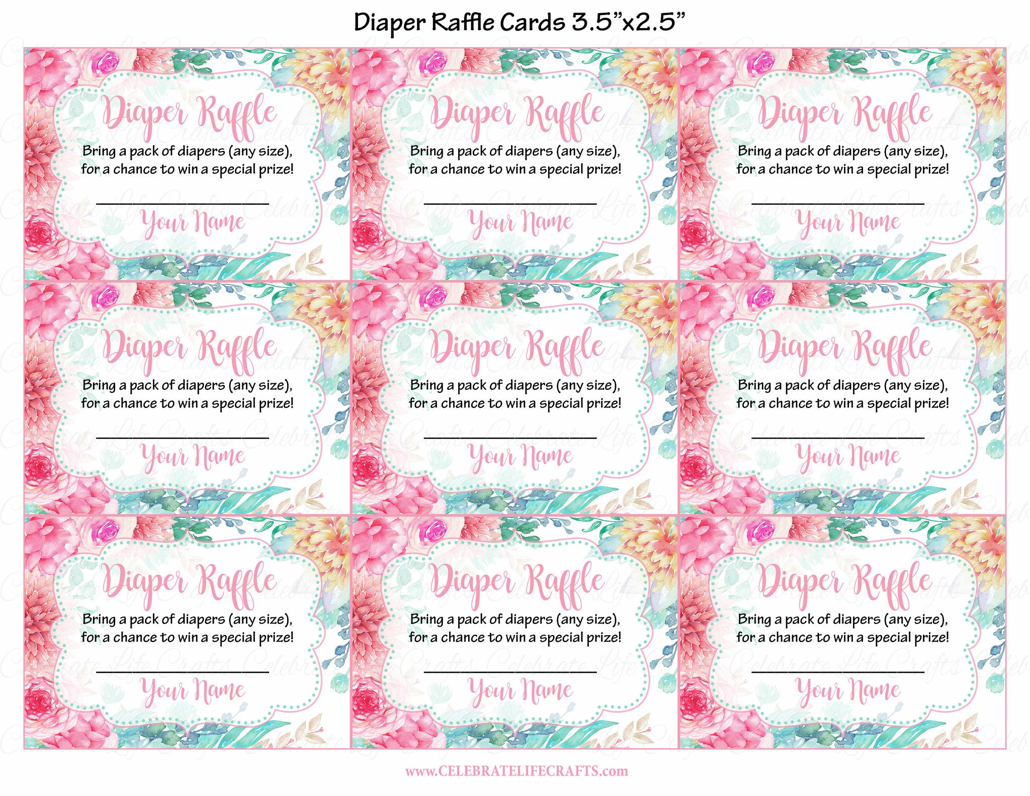 photograph about Diaper Raffle Tickets Printable titled Diaper Raffle Tickets for Boy or girl Shower - Spring Little one Shower