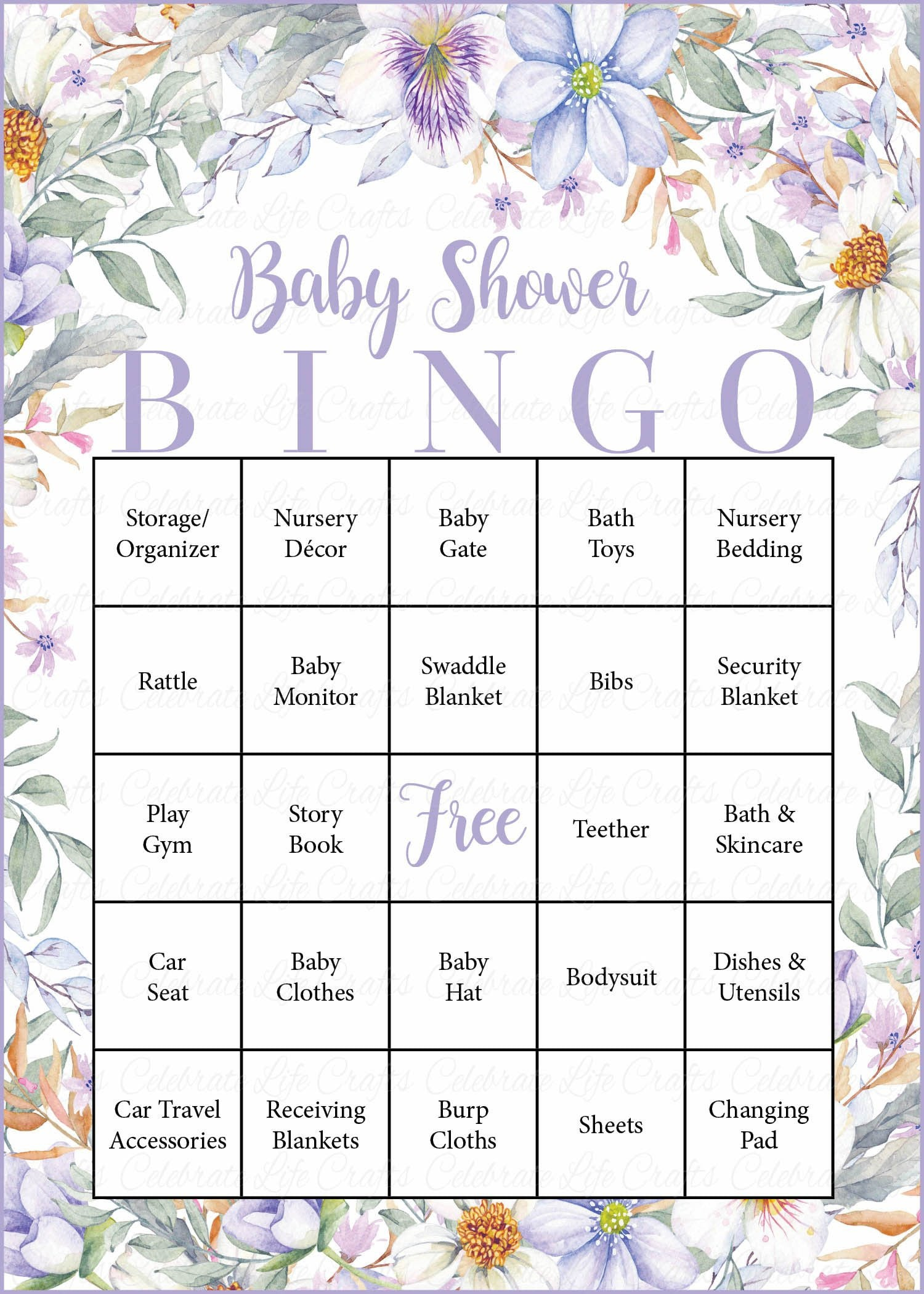 Garden baby shower game download for girl lavender floral baby floral baby bingo cards printable download prefilled garden baby shower game for girl lavender floral b33002 solutioingenieria Gallery
