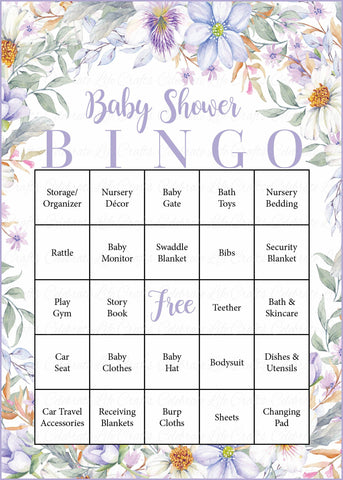 Floral Baby Bingo Cards - Printable Download - Prefilled - Garden Baby Shower Game for Girl - Lavender Floral - B33002