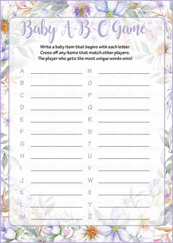 Baby ABC Game - Printable Download - Lavender Floral Garden Baby Shower Game - B33002