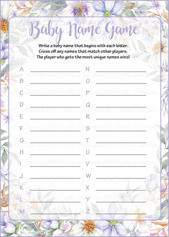 Baby Name - Printable Download - Lavender Floral Garden Baby Shower Game - B33002