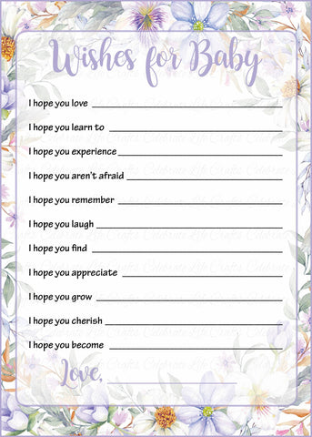 Wishes for Baby Cards - Printable Download - Lavender Floral Garden Baby Shower Activity - B33002