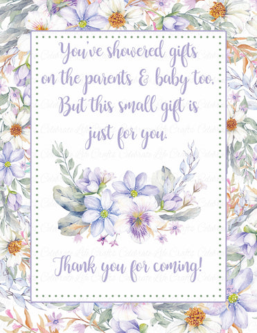 Thank You Favor Sign - Printable Download - Lavender Floral Garden Baby Shower Decorations - B33002