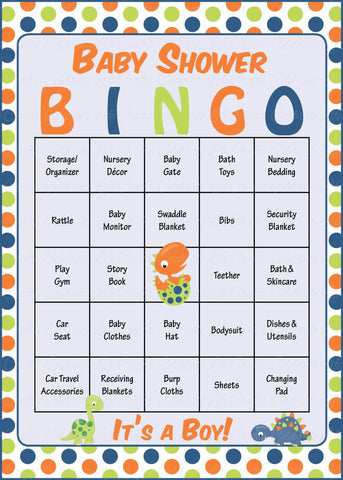 Dinosaur Baby Bingo Cards - PRINTABLE DOWNLOAD - Prefilled - Baby Shower Game for Boy -  Polka Dots - B38001