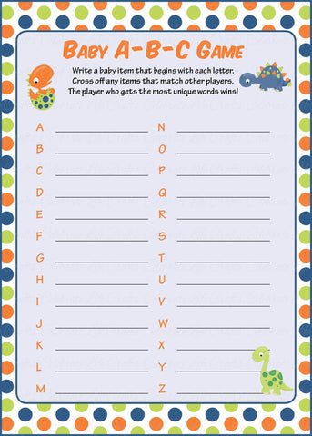 Baby ABC Game - PRINTABLE DOWNLOAD -  Dinosaur Baby Shower Game - B38001
