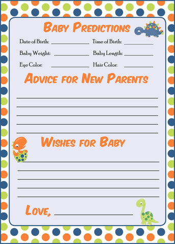 Prediction & Advice Cards - PRINTABLE DOWNLOAD -  Dinosaur Baby Shower Activity - B38001