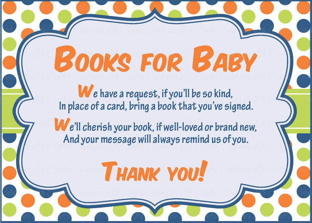 Books for Baby Invitation Inserts for Baby Shower - Dinosaur Baby ...