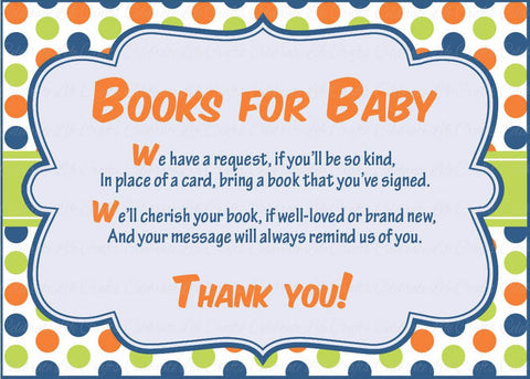 Books for Baby Cards - PRINTABLE DOWNLOAD -  Dinosaur Baby Shower Invitation Inserts - B38001