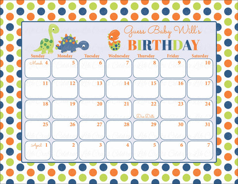 Personalized Baby Birthday Prediction Calendar - PRINTABLE DOWNLOAD -  Dinosaur Baby Shower Activity - B38001