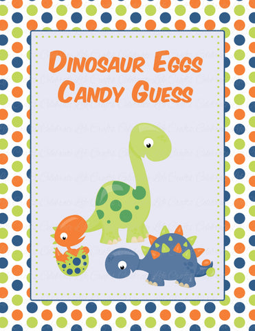 Candy Guessing Game - PRINTABLE DOWNLOAD -  Dinosaur Baby Shower Game - B38001