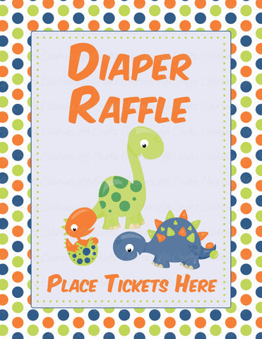 Diaper Raffle Tickets - PRINTABLE DOWNLOAD -  Dinosaur Baby Shower Invitation Inserts - B38001