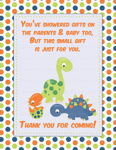 Thank You Favor Sign - PRINTABLE DOWNLOAD -  Dinosaur Baby Shower Decorations - B38001