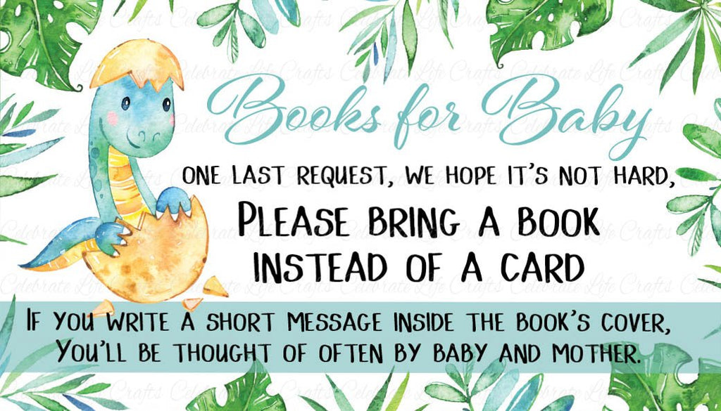 Dinosaur Baby Shower Books for Baby Cards