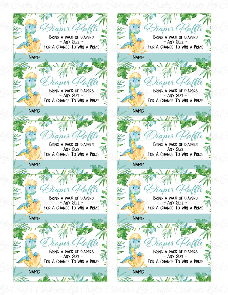 Dinosaur Baby Shower Diaper Raffle Cards