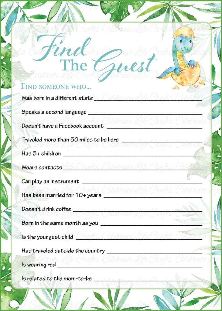 Dinosaur Baby Shower Find The Guest Game