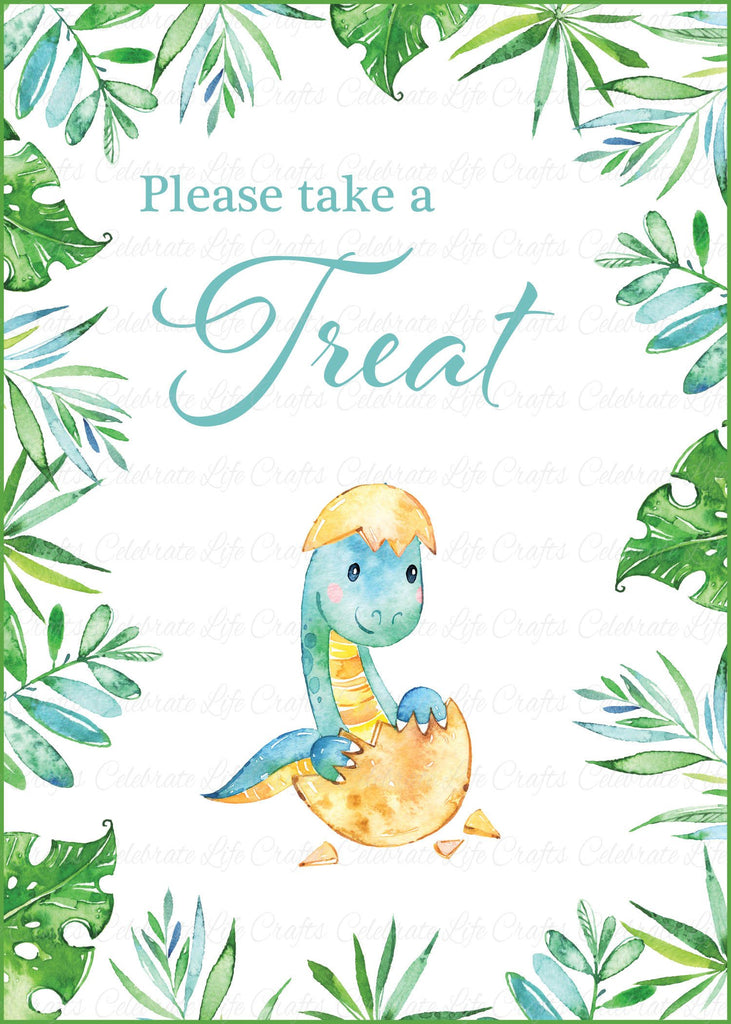 Dinosaur Baby Shower Treats Sign