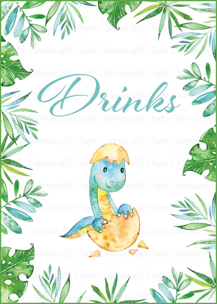 Dinosaur Baby Shower Drinks Sign