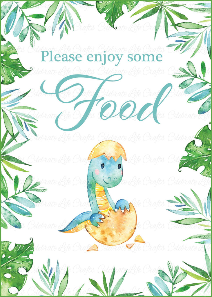 Dinosaur Baby Shower Food Sign