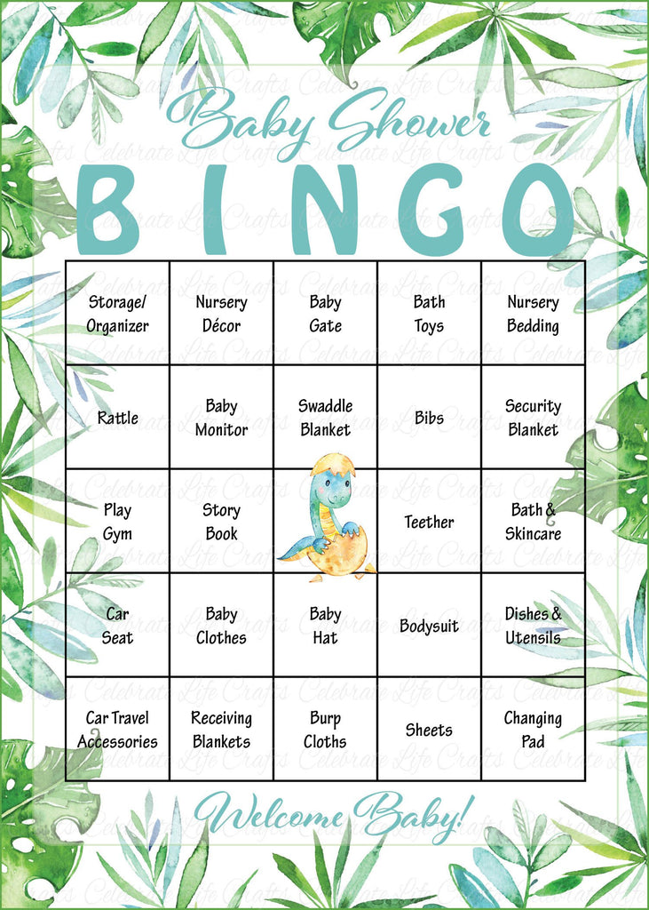 Dinosaur Baby Shower Bingo Cards