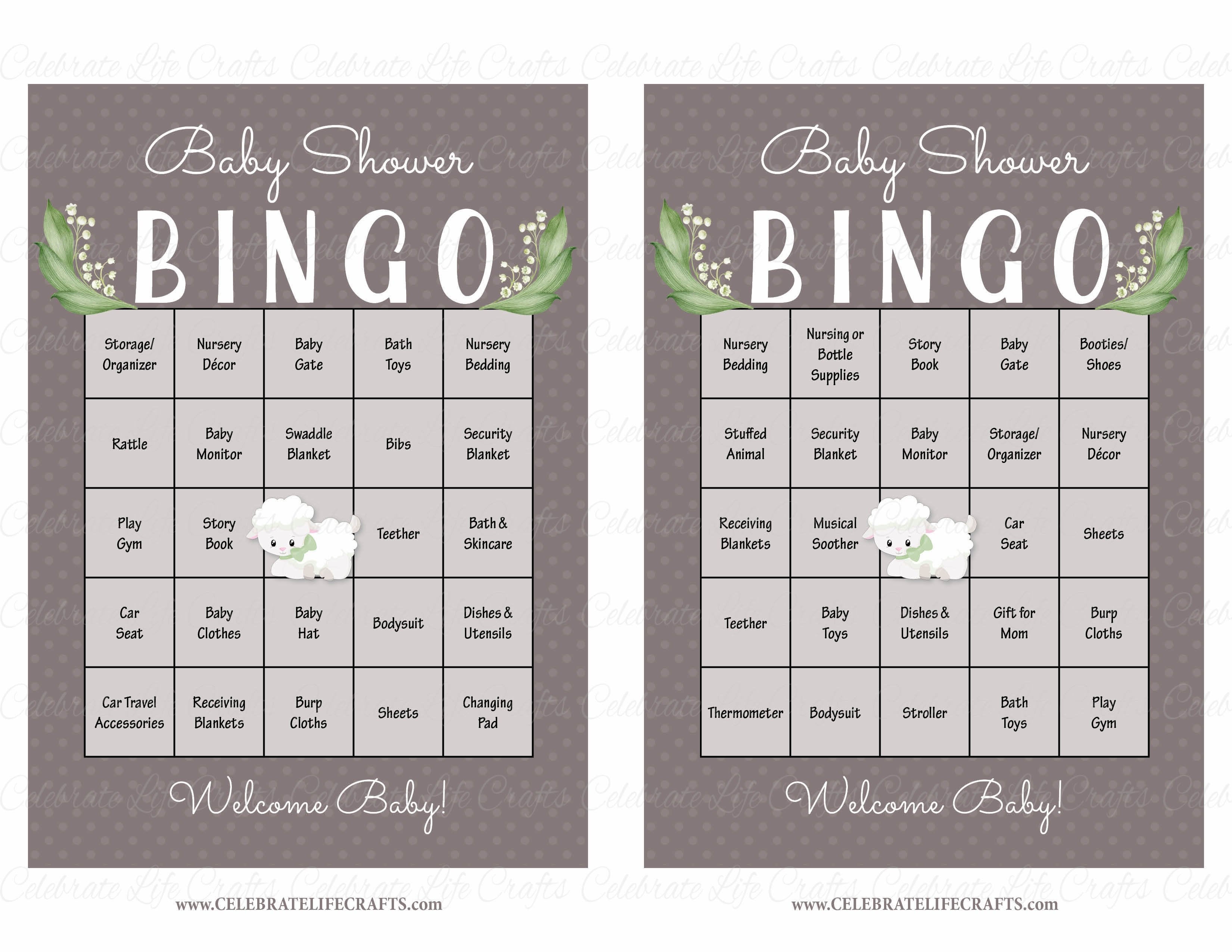 lamb baby bingo cards printable download prefilled baby shower game b39001