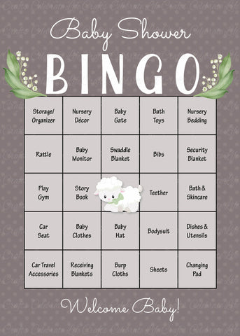 Lamb Baby Bingo Cards - PRINTABLE DOWNLOAD - Prefilled - Baby Shower Game - B39001