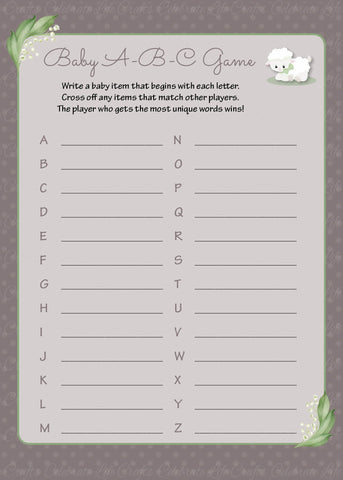 Baby ABC Game - PRINTABLE DOWNLOAD - Lamb Baby Shower Game - B39001