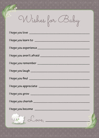 Wishes for Baby Cards - PRINTABLE DOWNLOAD - Lamb Baby Shower Activity - B39001