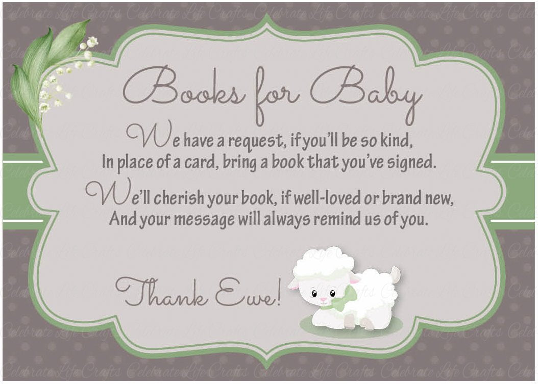 Books for Baby Invitation Inserts for Baby Shower - Lamb Baby Shower ...