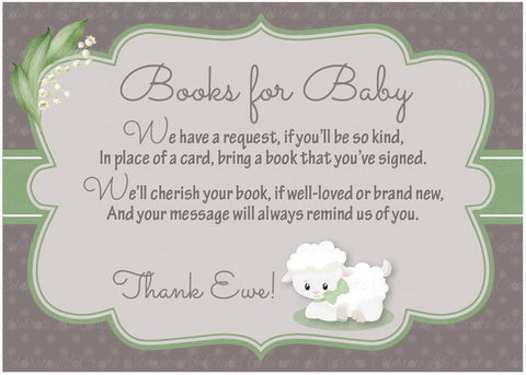 Books For Baby Cards   PRINTABLE DOWNLOAD   Lamb Baby Shower Invitation  Inserts   B39001