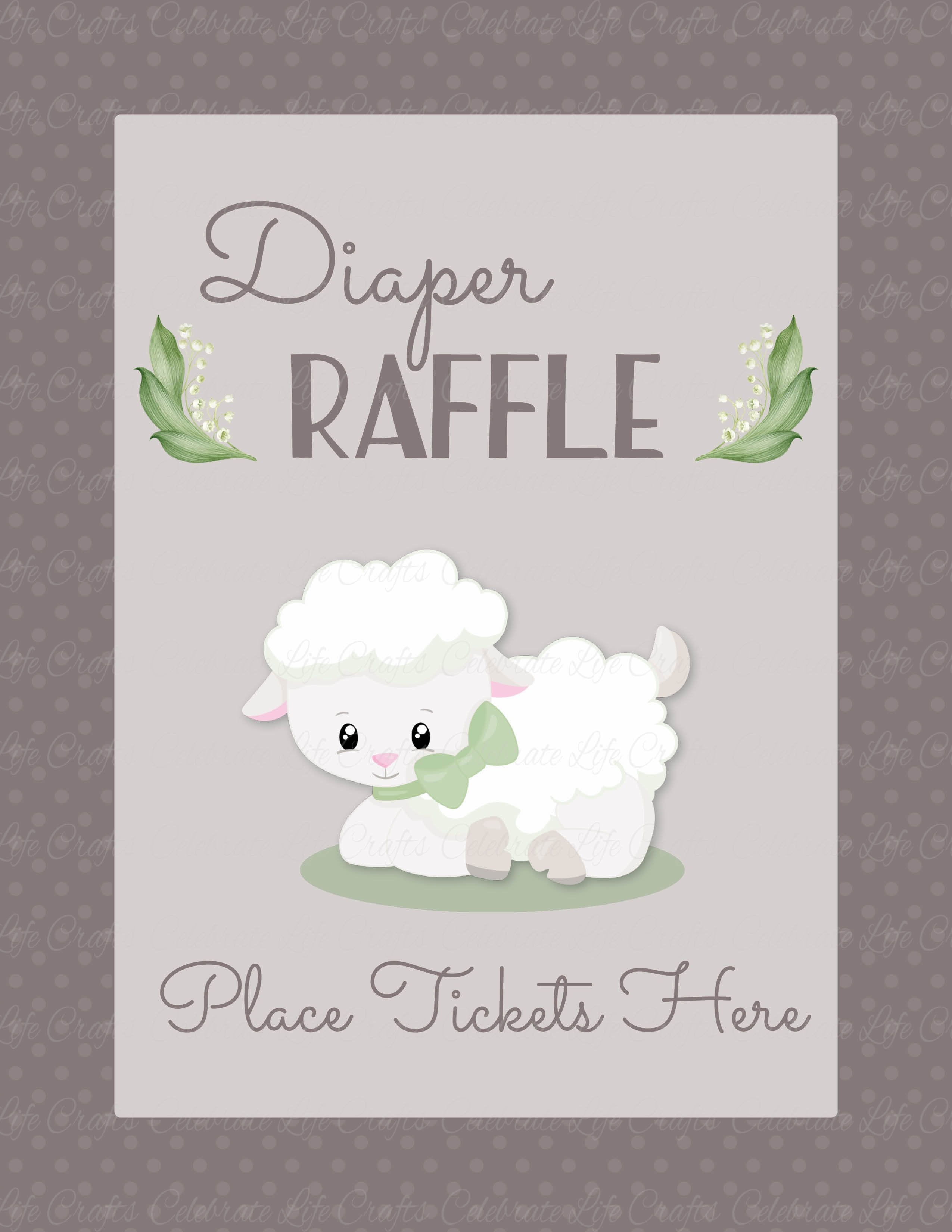 Diaper Raffle Tickets   PRINTABLE DOWNLOAD   Lamb Baby Shower Invitation  Inserts   B39001.